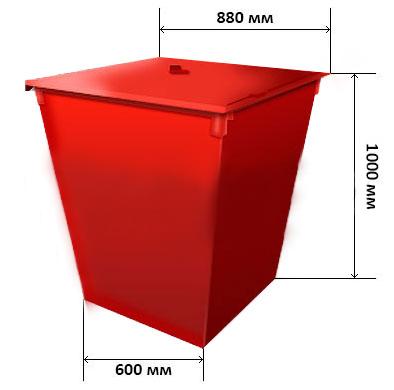 Контейнер для мусора с крышкой без колесиков