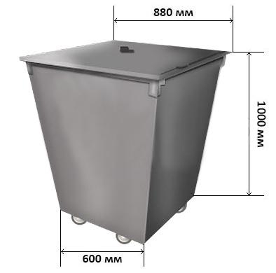 Контейнер для мусора с крышкой на колесиках